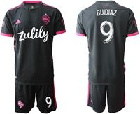 Mens 19-20 Soccer Seattle Sounders Fc Club #9 Ruidiaz Black Home Short Sleeve Suit Jersey