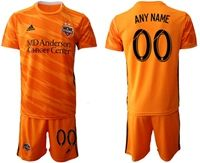 Mens 19-20 Soccer Houston Dynamo Club ( Custom Made ) Orange Home Short Sleeve Suit Jersey