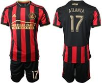 Mens 19-20 Soccer Atlanta United Fc Club #17 Atlanta Red And Black Stripe Home Short Sleeve Suit Jersey