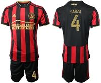 Mens 19-20 Soccer Atlanta United Fc Club #4 Garza Red And Black Stripe Home Short Sleeve Suit Jersey