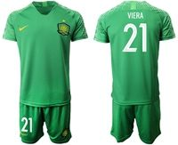 Mens 19-20 Soccer Club Beijing Sinobo Guoan #21 Viera Green Home Short Sleeve Suit Jersey