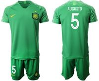Mens 19-20 Soccer Club Beijing Sinobo Guoan #5 Augusto Green Home Short Sleeve Suit Jersey