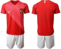Mens 19-20 Soccer Club Guangzhou Evergrande Taobao Fc Blank Red Home Short Sleeve Suit Jersey