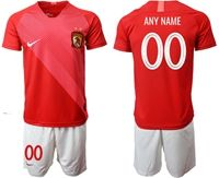 Mens 19-20 Soccer Club Guangzhou Evergrande Taobao Fc (custom Made) Red Home Short Sleeve Suit Jersey
