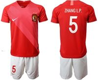 Mens 19-20 Soccer Club Guangzhou Evergrande Taobao Fc #5 Zhang L.p. Red Home Short Sleeve Suit Jersey