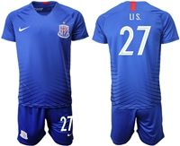 Mens 19-20 Soccer Club Shanghai Greenland Shenhua Fc #27 Li S. Blue Home Short Sleeve Suit Jersey