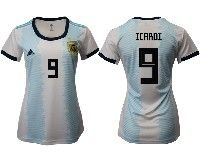 Women 19-20 Soccer Argentina National Team #9 Mauro Icardi White Adidas Home Short Sleeve Jersey