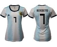 Women 19-20 Soccer Argentina National Team #7 Dario Benedetto White Adidas Home Short Sleeve Jersey