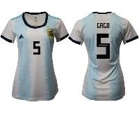 Women 19-20 Soccer Argentina National Team #5 Fernando Gago White Adidas Home Short Sleeve Jersey