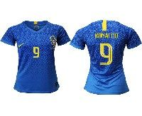 Women 19-20 Soccer Brazil National Team #9 Ronaldo Blue Away Nike Short Sleeve Jersey