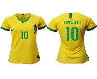 Women 19-20 Soccer Brazil National Team #10 Ronaldinho Coutinho Yellow Home Nike Short Sleeve Jersey