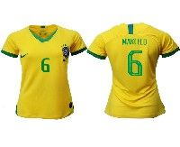 Women 19-20 Soccer Brazil National Team #6 Marcelo Yellow Home Nike Short Sleeve Jersey
