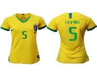 Women 19-20 Soccer Brazil National Team #5 Casemiro Yellow Home Nike Short Sleeve Jersey