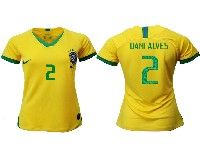 Women 19-20 Soccer Brazil National Team #2 Dani Alves Yellow Home Nike Short Sleeve Jersey