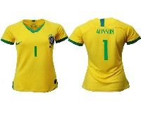 Women 19-20 Soccer Brazil National Team #1 Alisson Yellow Home Nike Short Sleeve Jersey