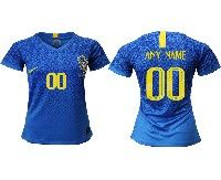 Women 19-20 Soccer Brazil National Team ( Custom Made ) Blue Away Nike Short Sleeve Jersey