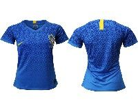 Women 19-20 Soccer Brazil National Team Blank Blue Away Nike Short Sleeve Jersey