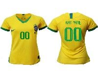 Women 19-20 Soccer Brazil National Team ( Custom Made ) Yellow Home Nike Short Sleeve Jersey