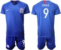 Mens 19-20 Soccer Club Shanghai Greenland Shenhua Fc #9 Ighalo Blue Home Short Sleeve Suit Jersey