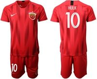 Mens 19-20 Soccer Club Shanghai Sipg #10 Hulk Red Home Short Sleeve Suit Jersey