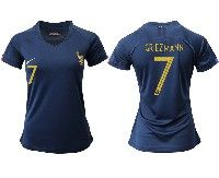 Women 19-20 Soccer France National Team #7 Antoine Griezmann Blue Home Short Sleeve Jersey
