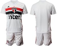 Mens 19-20 Soccer Club Sao Paulo (custom Made) White Home Short Sleeve Suit Jersey