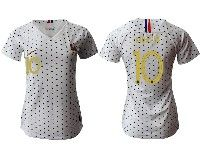 Women 19-20 Soccer France National Team #10 Kylian Mbappe White Away Short Sleeve Jersey