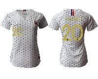 Women 19-20 Soccer France National Team #20 Thauvin White Away Short Sleeve Jersey