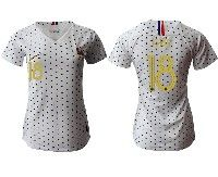 Women 19-20 Soccer France National Team #18 Fekir White Away Short Sleeve Jersey