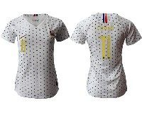 Women 19-20 Soccer France National Team #11 Coman White Away Short Sleeve Jersey