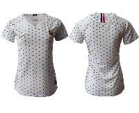 Women 19-20 Soccer France National Team Blank White Away Short Sleeve Jersey