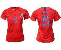 Women 19-20 Soccer Usa National Team #15 Megan Rapinoe Red Away Short Sleeve Jersey