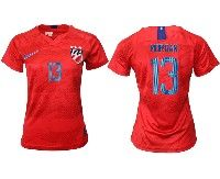 Women 19-20 Soccer Usa National Team #13 Alex Morgan Red Away Short Sleeve Jersey
