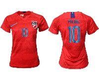 Women 19-20 Soccer Usa National Team #10 Christian Pulisic Red Away Short Sleeve Jersey