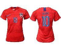 Women 19-20 Soccer Usa National Team #10 Carli Lloyd Red Away Short Sleeve Jersey