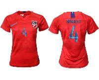 Women 19-20 Soccer Usa National Team #4 Michael Bradley Red Away Short Sleeve Jersey