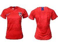 Women 19-20 Soccer Usa National Team Blank Red Away Short Sleeve Jersey
