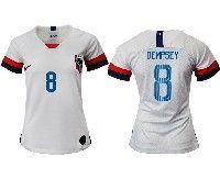 Women 19-20 Soccer Usa National Team #8 Clint Dempsey White Home Short Sleeve Jersey
