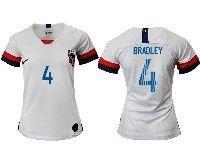 Women 19-20 Soccer Usa National Team #4 Michael Bradley White Home Short Sleeve Jersey