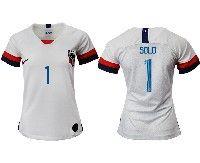 Women 19-20 Soccer Usa National Team #1 Hope Solo White Home Short Sleeve Jersey
