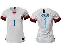 Women 19-20 Soccer Usa National Team #1 Tim Howard White Home Short Sleeve Jersey