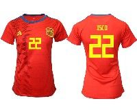 Women 19-20 Soccer Spain National Team #22 Isco Red Home Adidas Short Sleeve Jersey