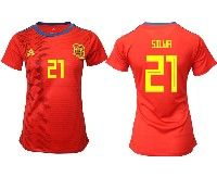Women 19-20 Soccer Spain National Team#21 David Silva Red Home Adidas Short Sleeve Jersey