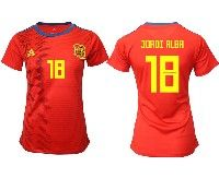 Women 19-20 Soccer Spain National Team #18 Jordi Alba Ramos Red Home Adidas Short Sleeve Jersey
