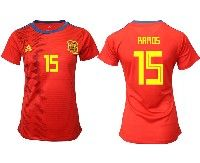 Women 19-20 Soccer Spain National Team #15 Sergio Ramos Red Home Adidas Short Sleeve Jersey