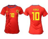 Women 19-20 Soccer Spain National Team #10 Thiago Red Home Adidas Short Sleeve Jersey