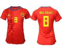 Women 19-20 Soccer Spain National Team #8 Saul Niguez Red Home Adidas Short Sleeve Jersey