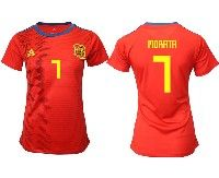 Women 19-20 Soccer Spain National Team #7 Alvaro Morata Red Home Adidas Short Sleeve Jersey