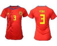 Women 19-20 Soccer Spain National Team #3 Gerard Pique Red Home Adidas Short Sleeve Jersey