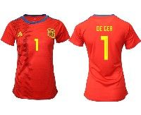 Women 19-20 Soccer Spain National Team #1 David De Gea Red Home Adidas Short Sleeve Jersey